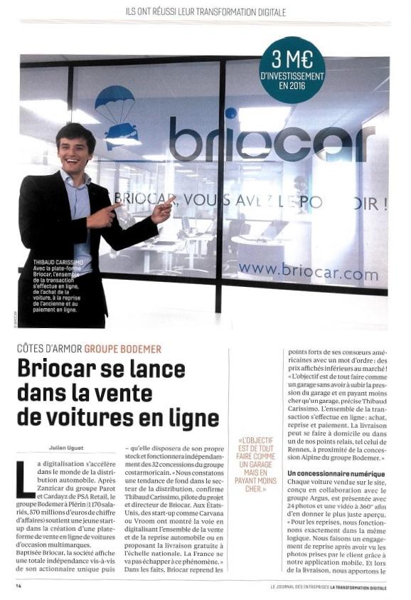 Journal des Entreprises - Article Briocar octobre 2017