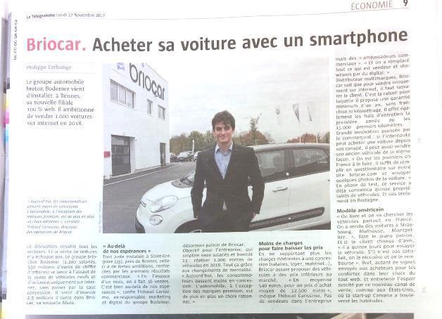 Article Journal du Telegramme Briocar acheter sa voiture avec un smartphone