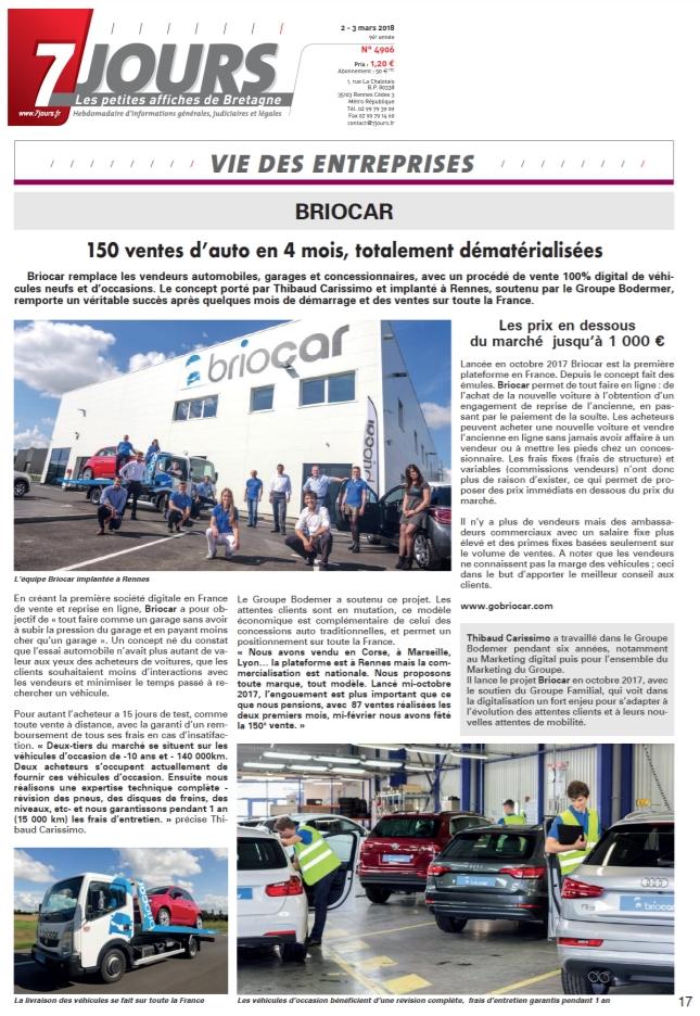 Article journal 7 Jours acheter une voiture avec Briocar