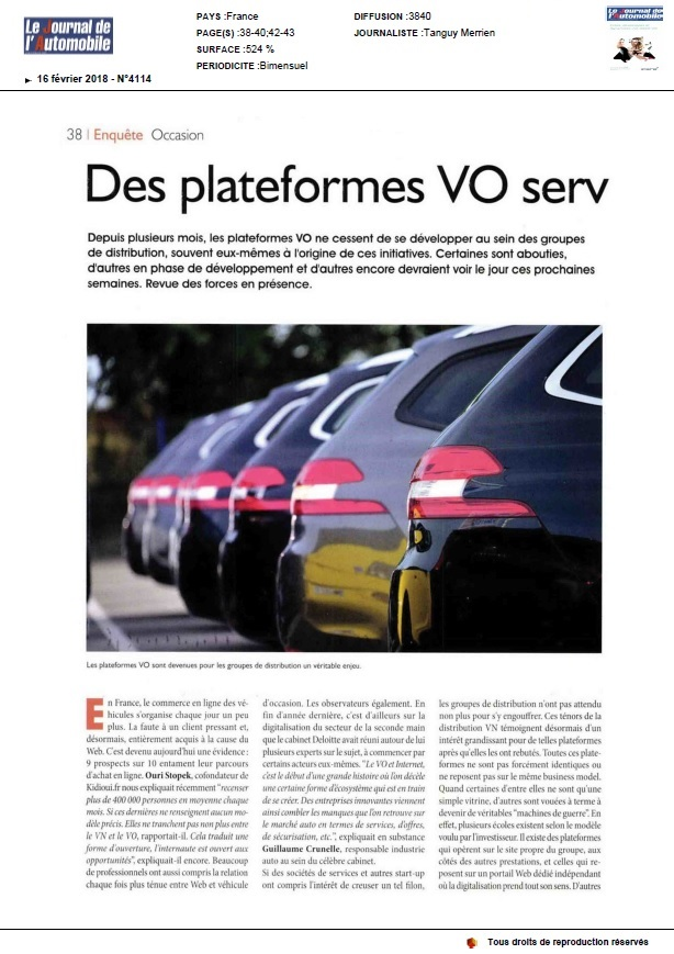 Article Journal de l'Auto 2018 Plateformes VO et Conquête