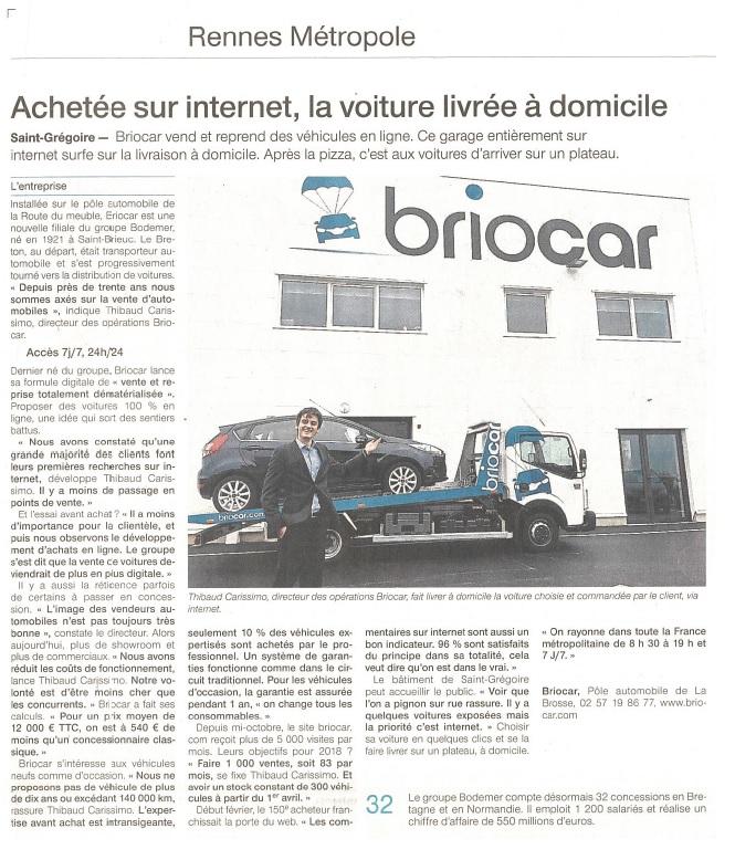 Article du jounal OuestFrance sur Briocar - 25/02/18