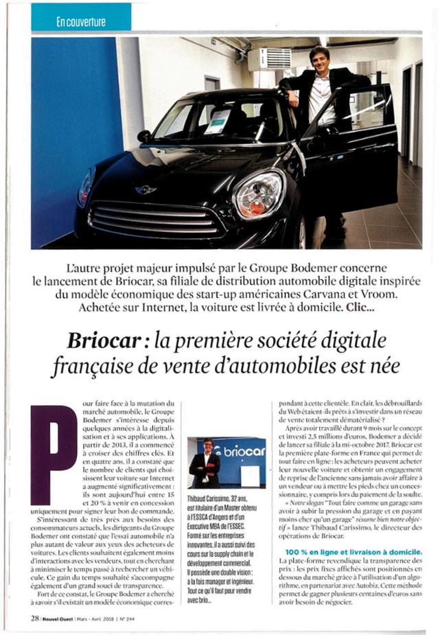 Article Journal Nouvel Ouest acheter sa voiture sur Internet avec Briocar